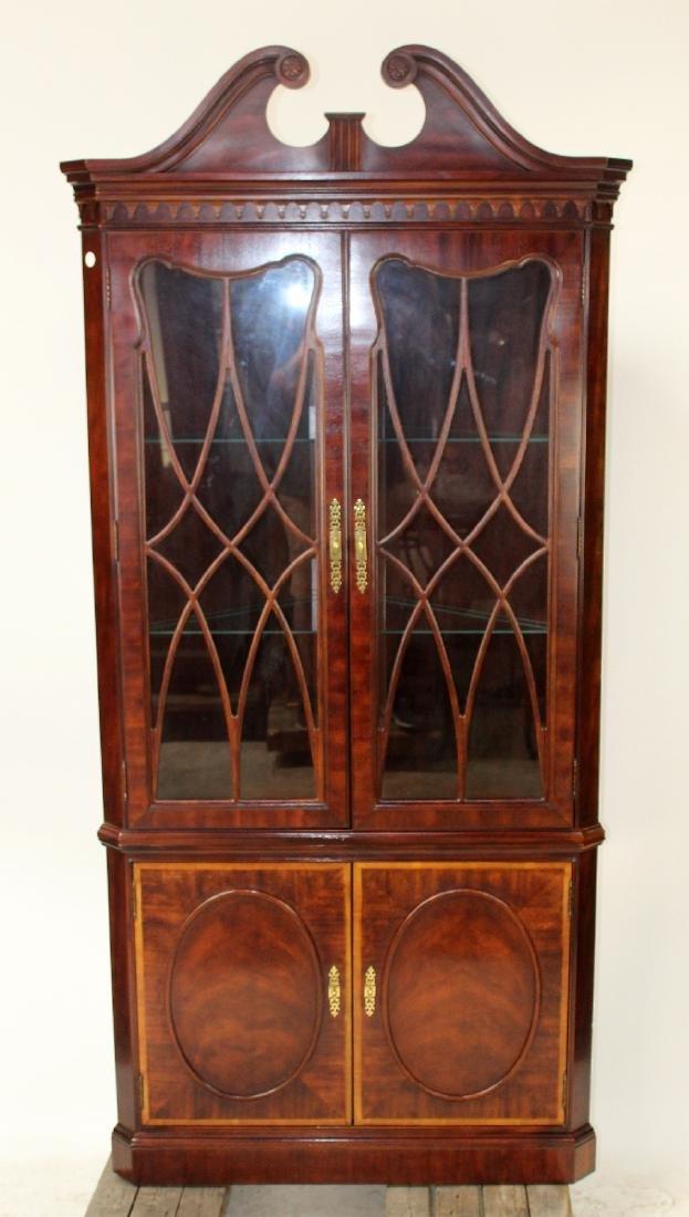 Banded mahogany corner cabinet