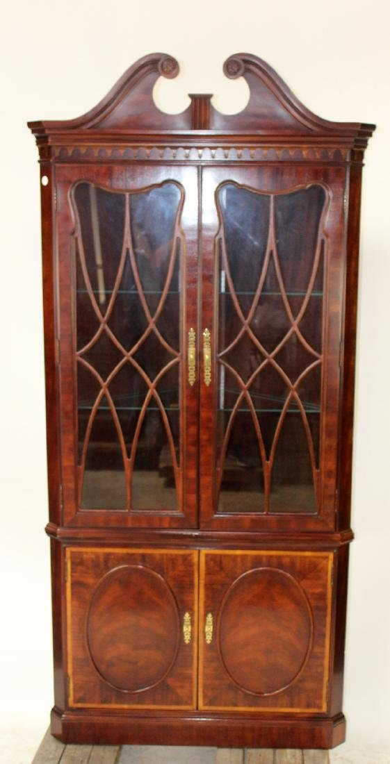 Banded mahogany corner cabinet - 4