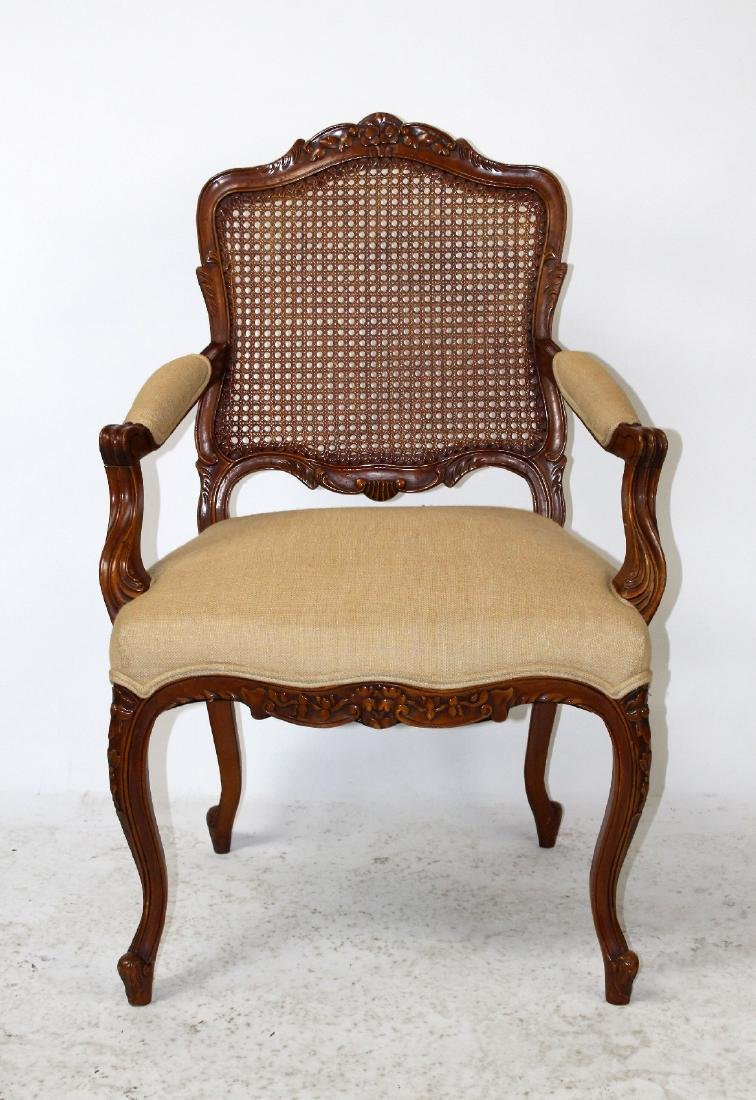 Louis XV style cane back armchair