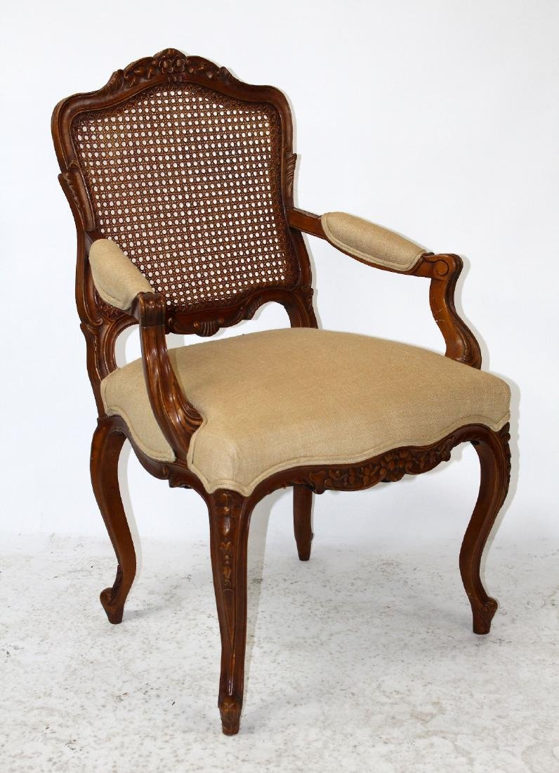 Louis XV style cane back armchair - 5