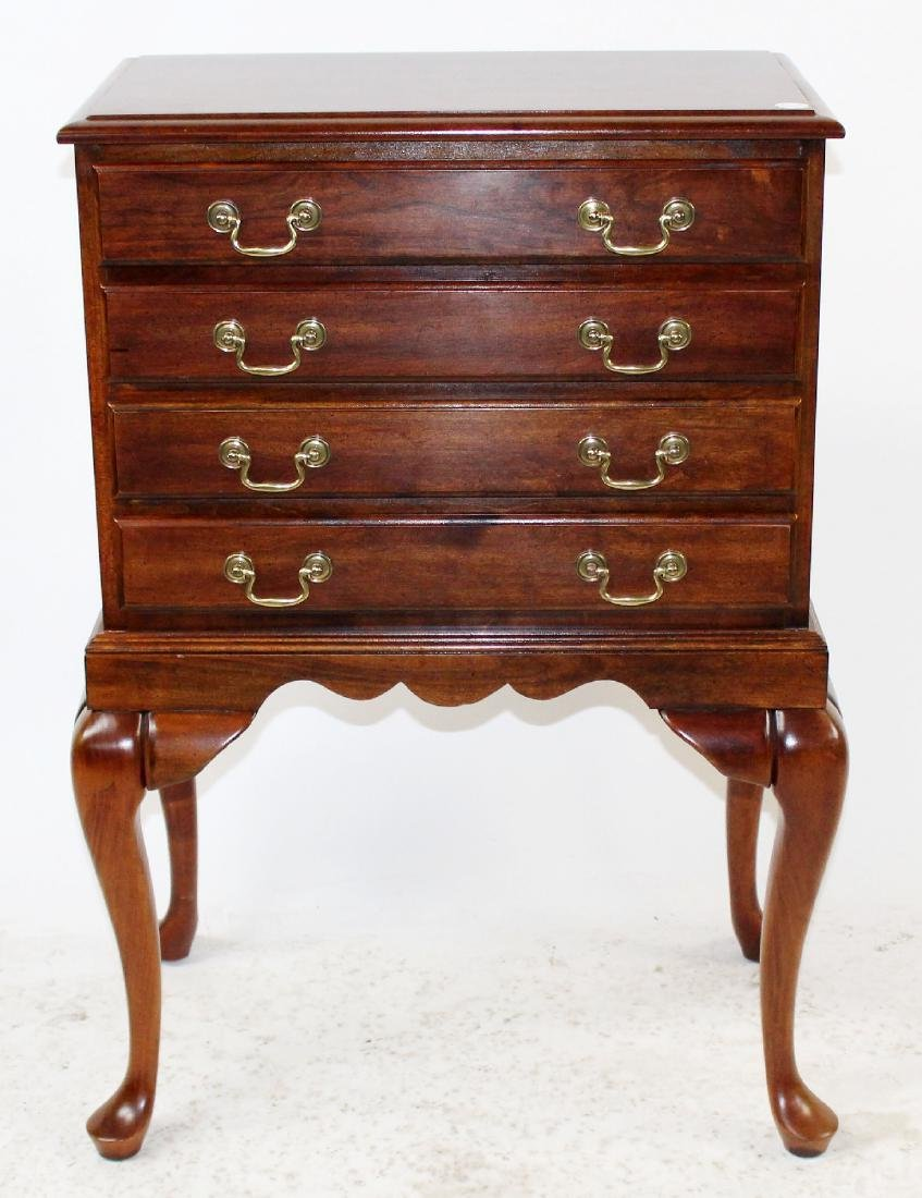 Mahogany 4-drawer silver chest on legs