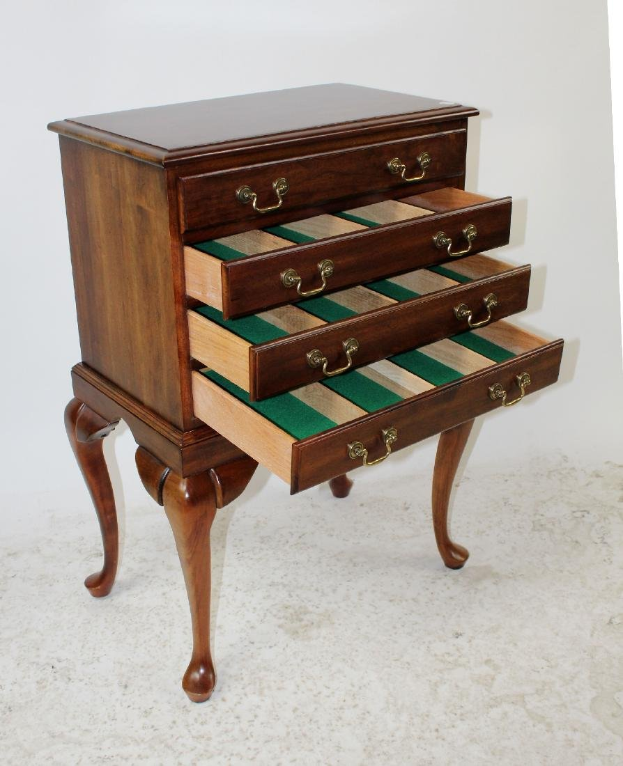Mahogany 4-drawer silver chest on legs - 5