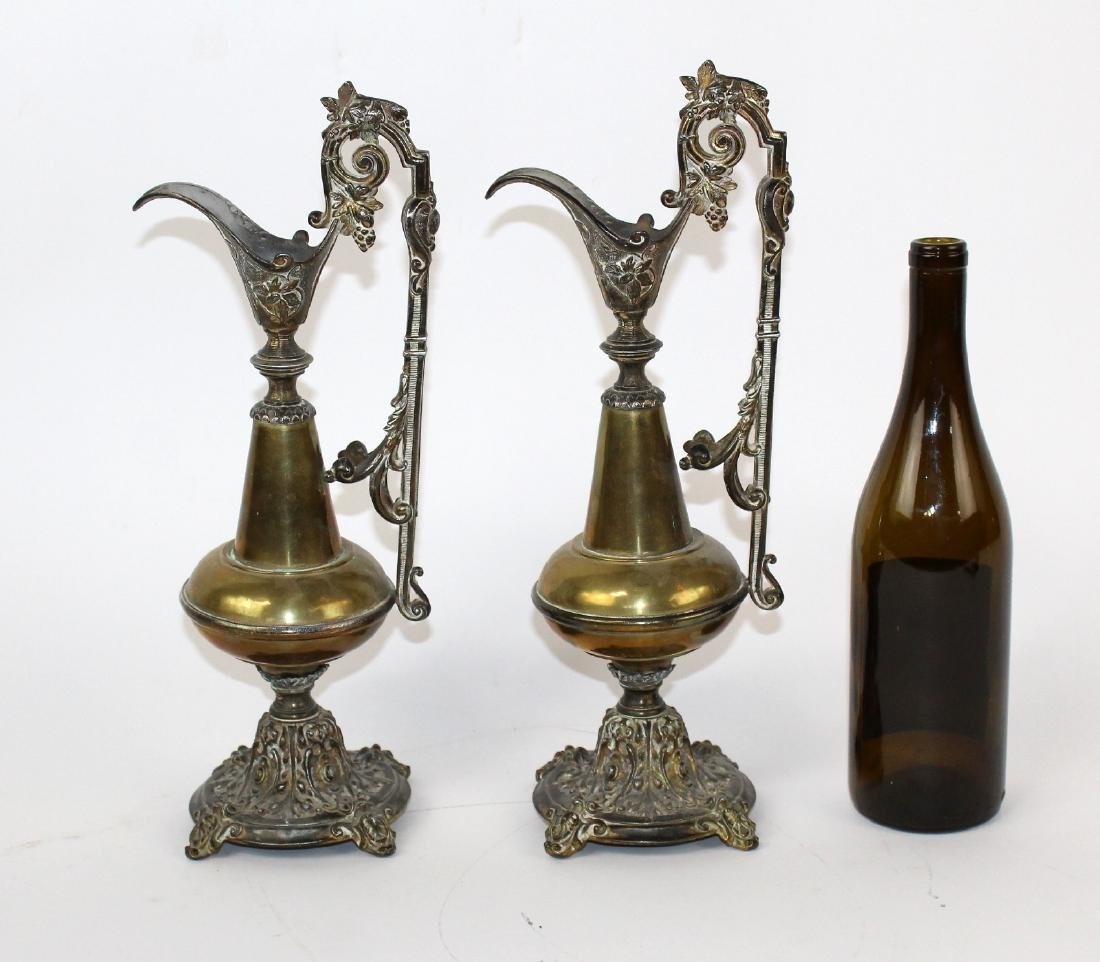 Pair brass and pewter ewers - 5