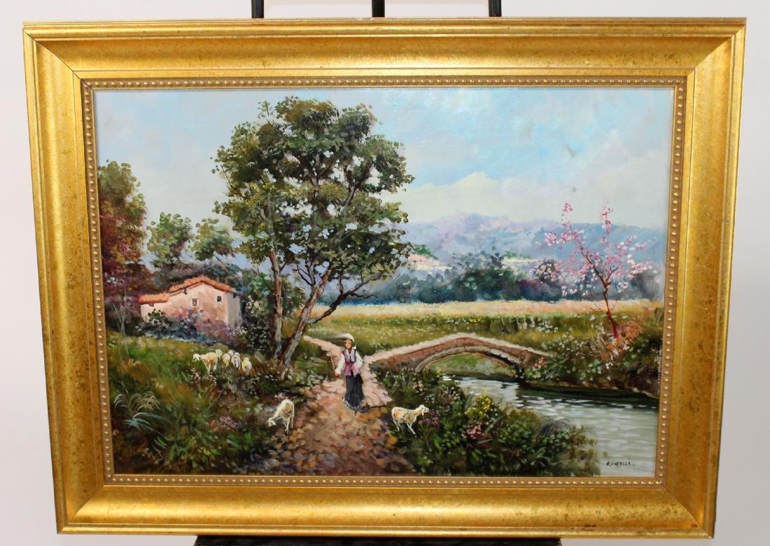 Italian oil on canvas pastoral scene