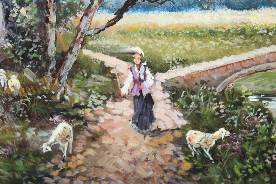 Italian oil on canvas pastoral scene - 3