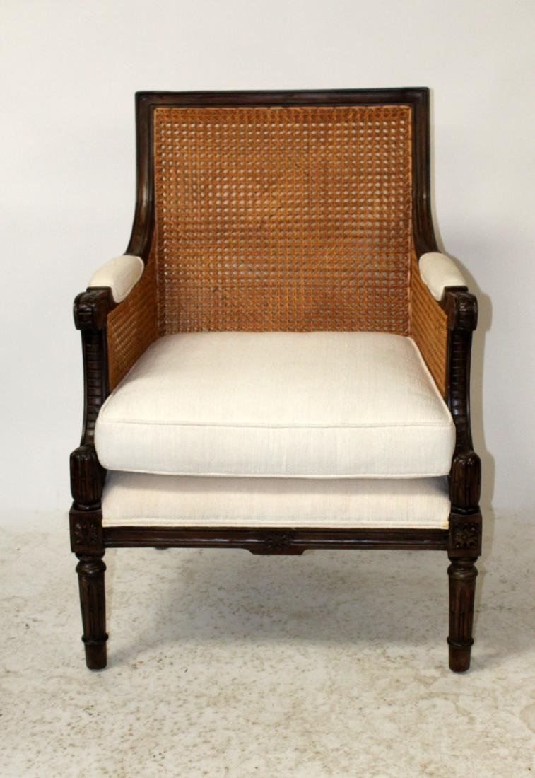 Louis XVI style double cane bergere chair