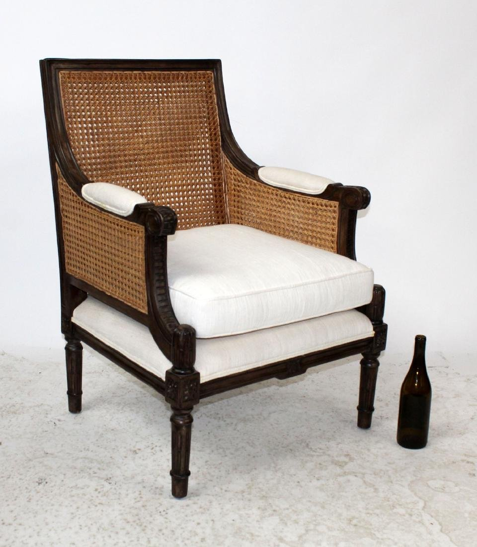Louis XVI style double cane bergere chair - 4