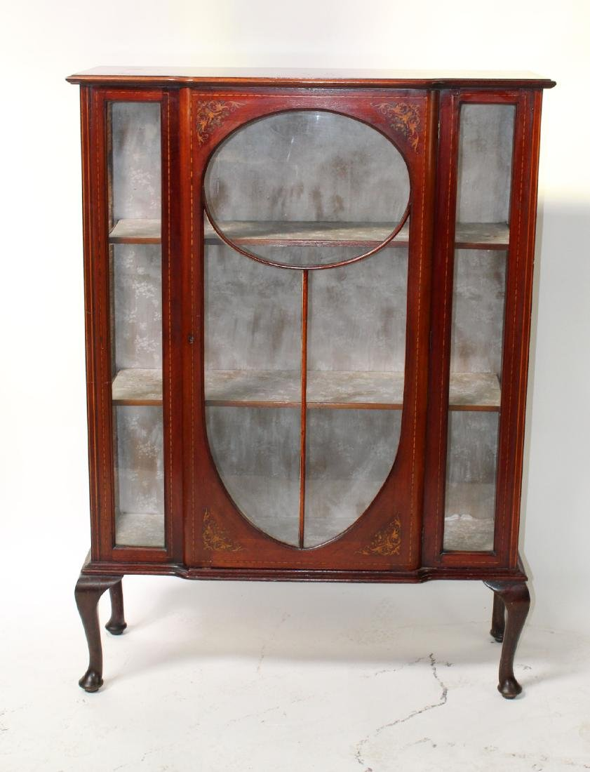 Victorian inlaid china cabinet on Queen Anne legs