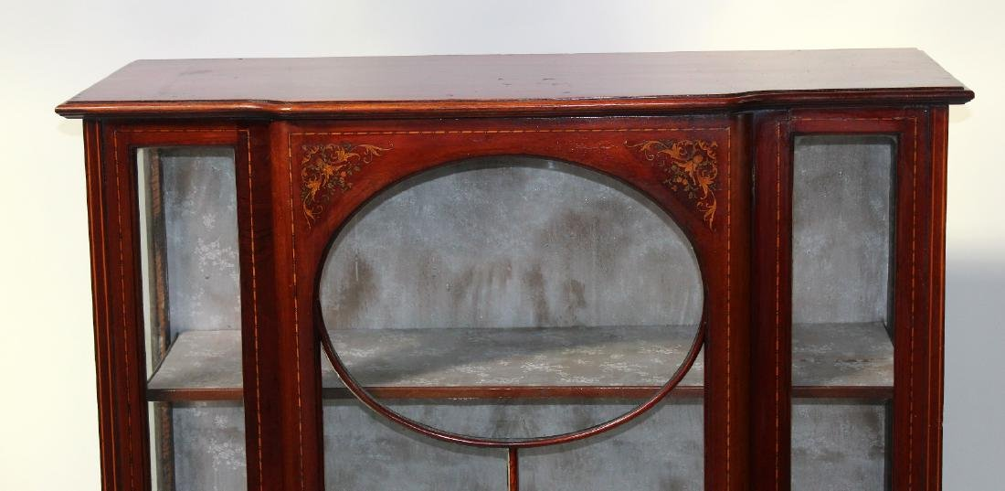Victorian inlaid china cabinet on Queen Anne legs - 2