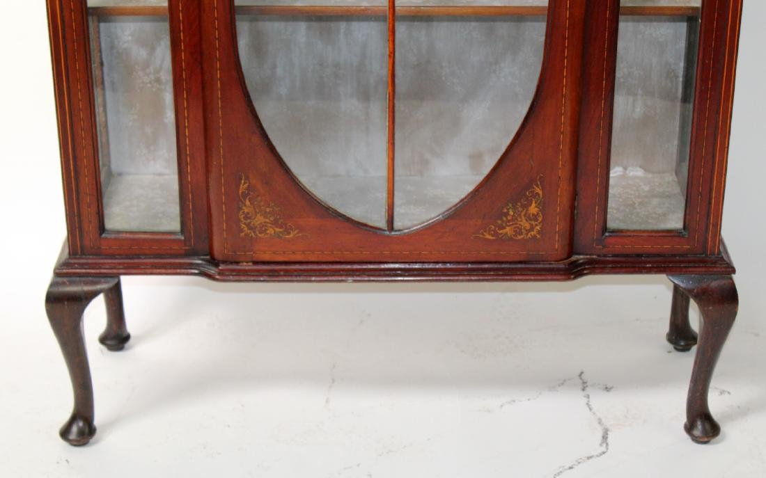 Victorian inlaid china cabinet on Queen Anne legs - 3