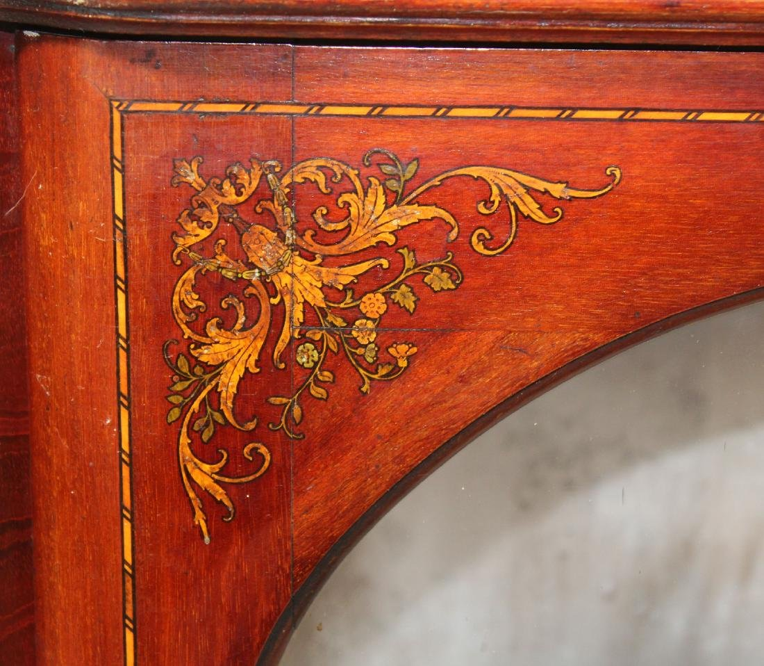 Victorian inlaid china cabinet on Queen Anne legs - 4