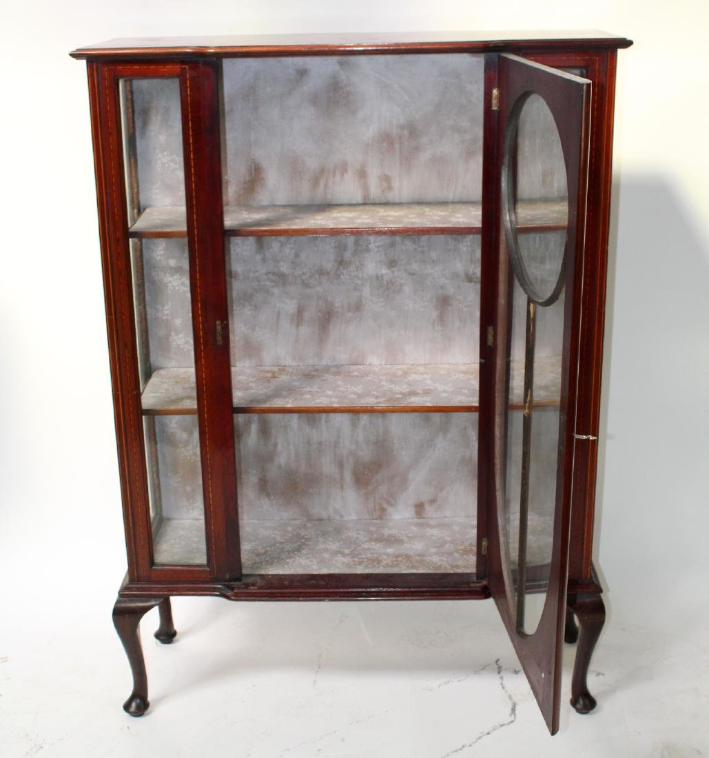 Victorian inlaid china cabinet on Queen Anne legs - 5