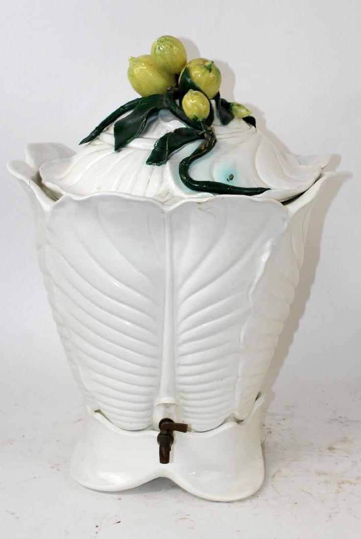 Italian Majolica glazed ceramic beverage dispenser