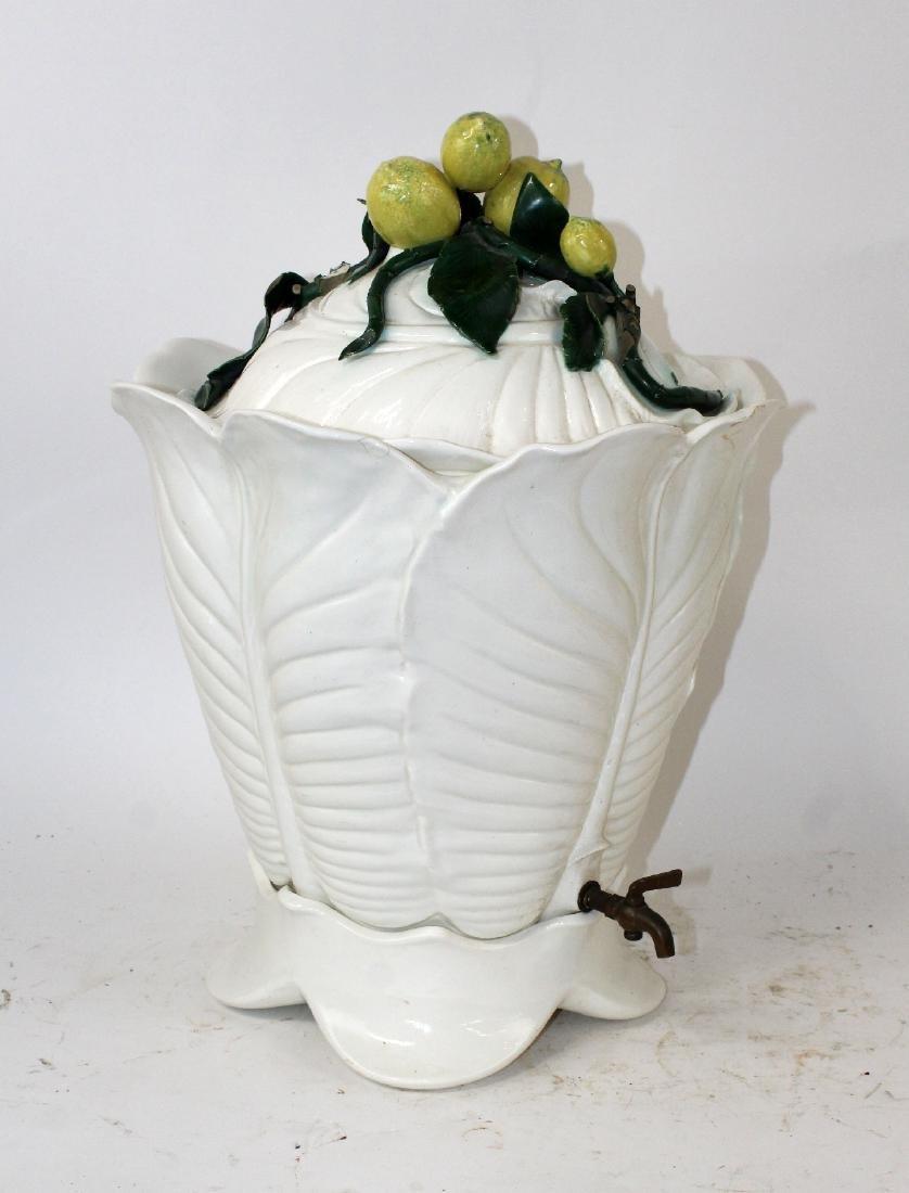 Italian Majolica glazed ceramic beverage dispenser - 5
