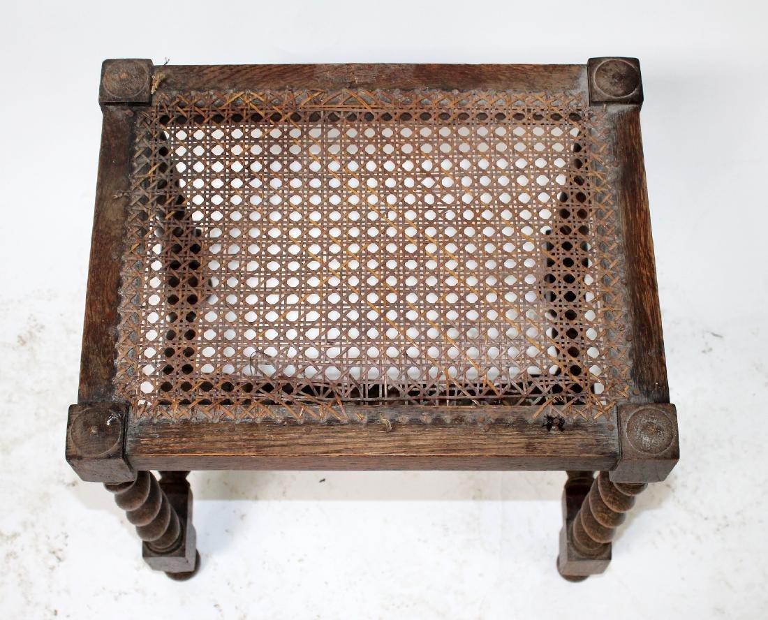 English barley twist walnut & cane footstool - 3