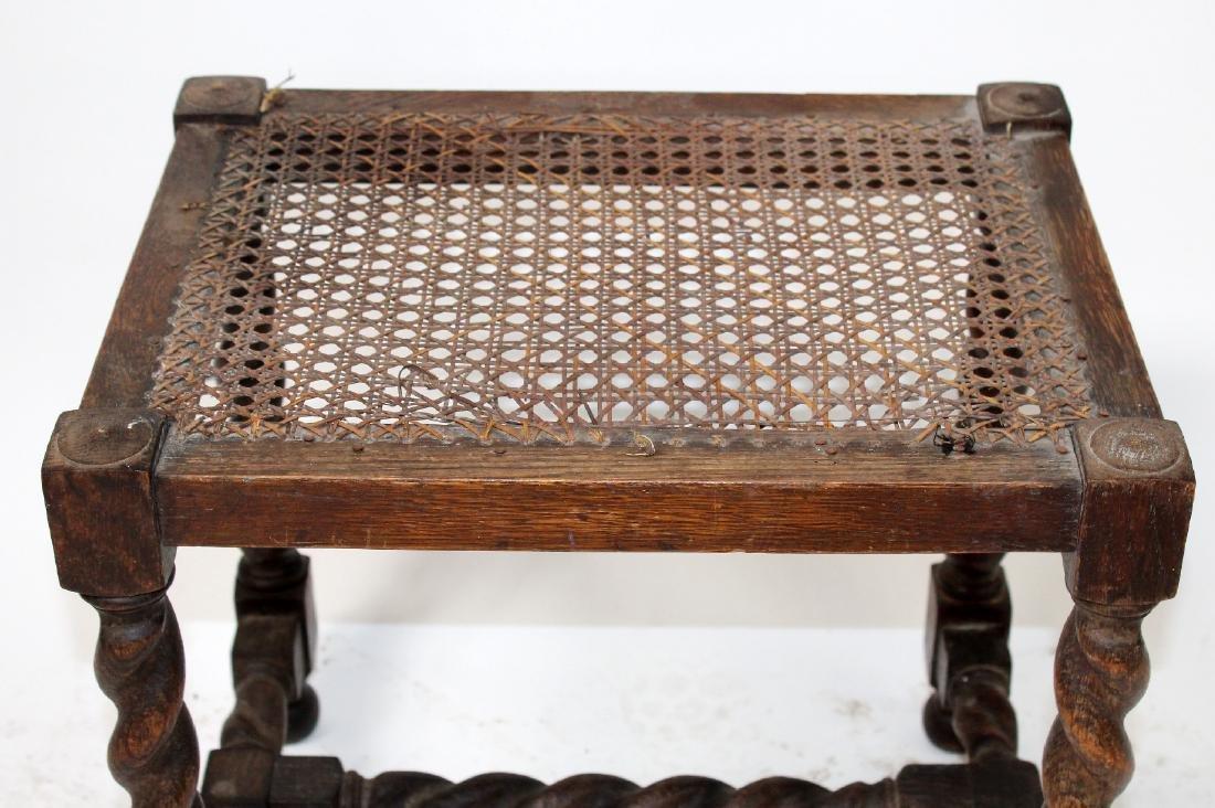 English barley twist walnut & cane footstool - 4