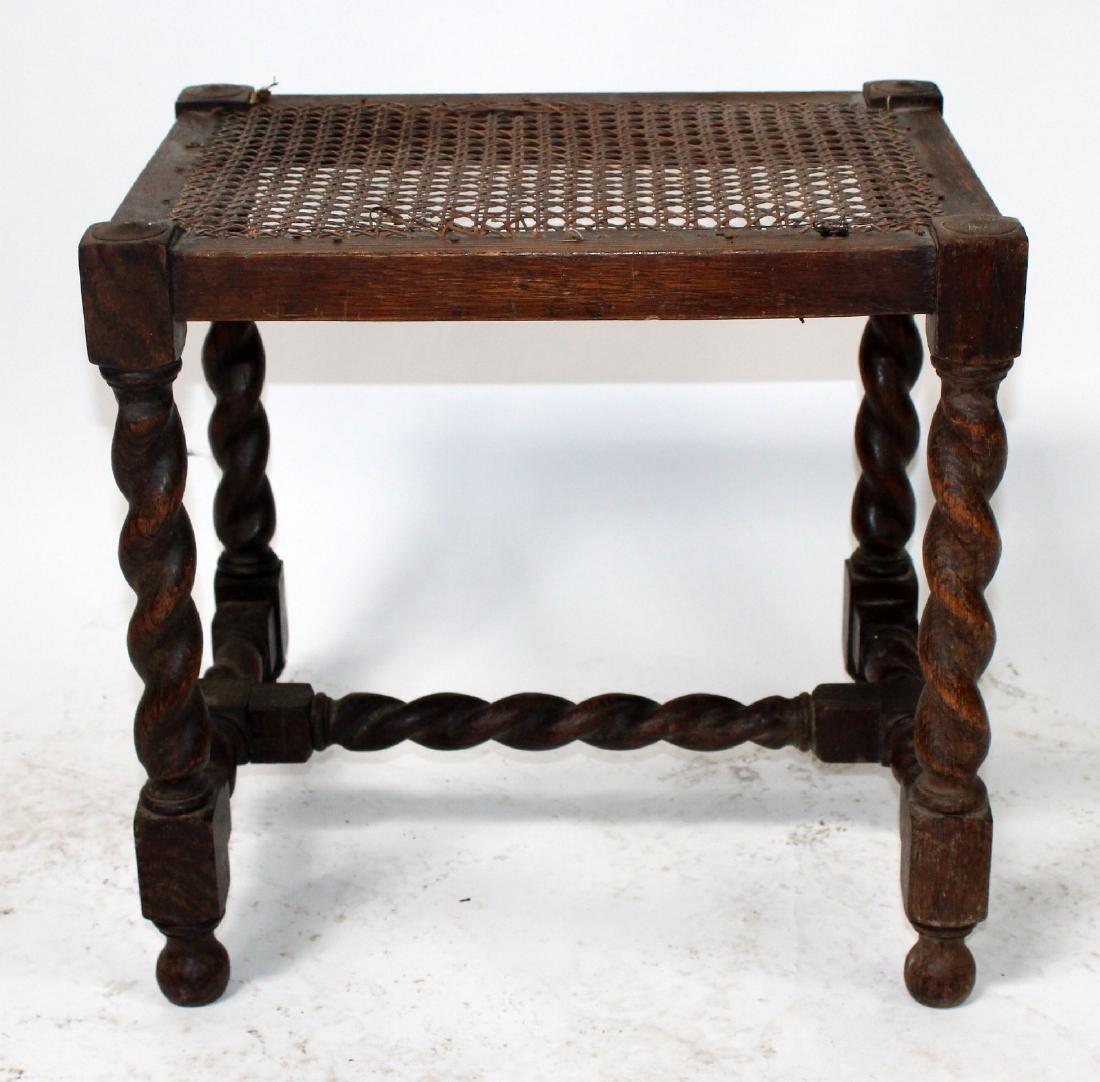 English barley twist walnut & cane footstool - 7
