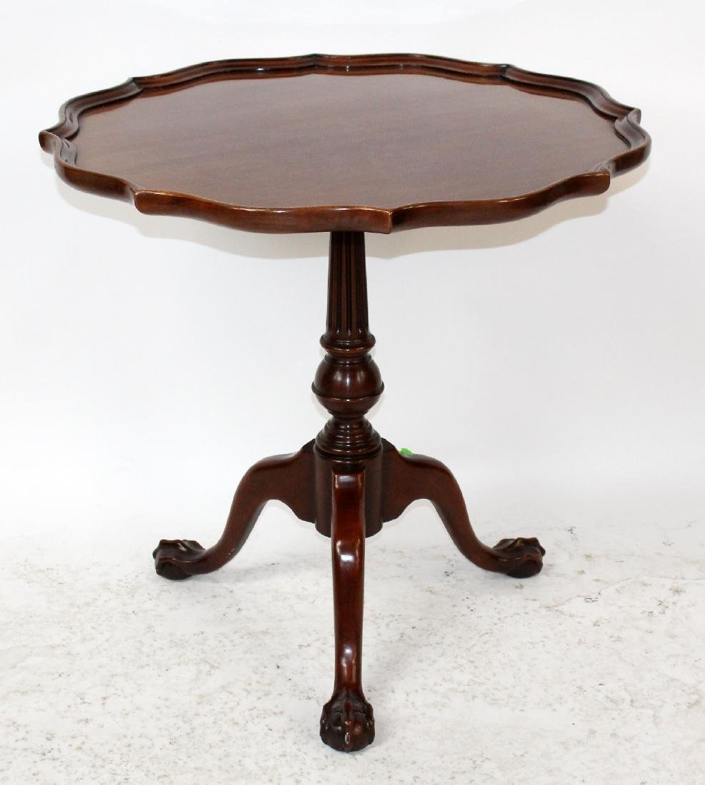 Mahogany triped base pie crust table