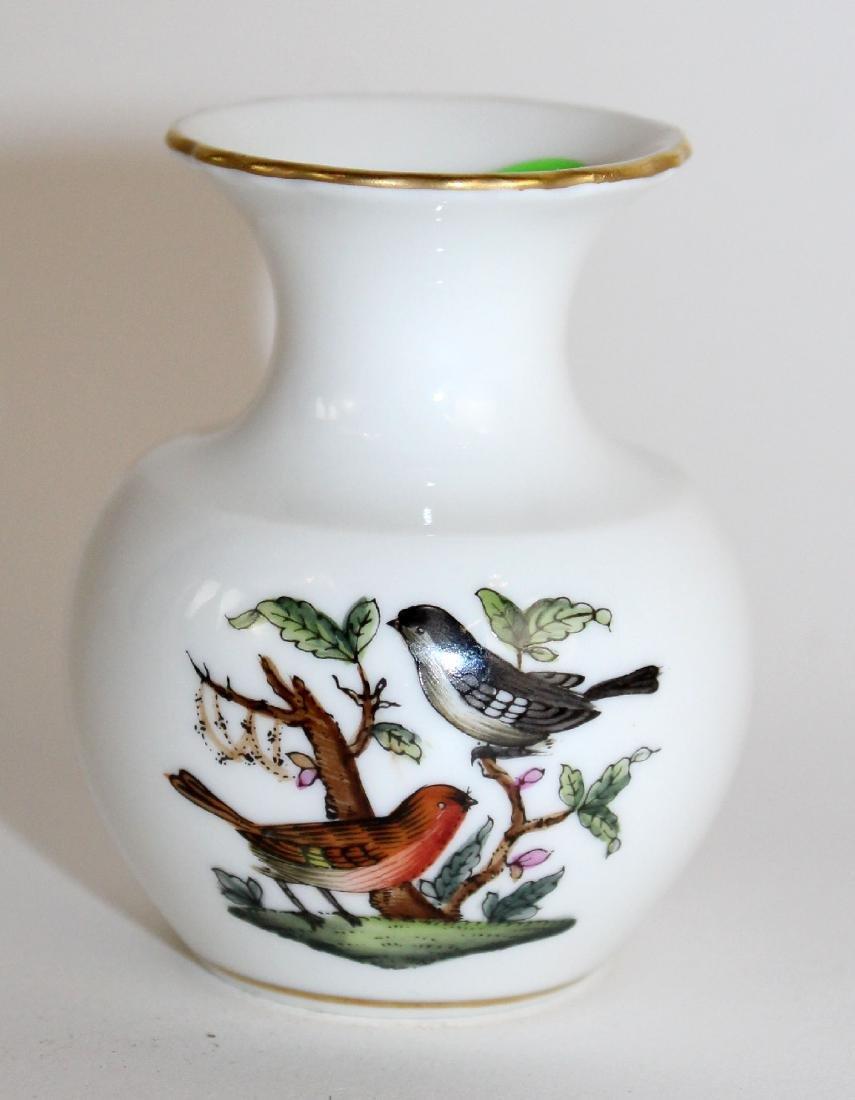Miniature Herend porcelain vase with bird
