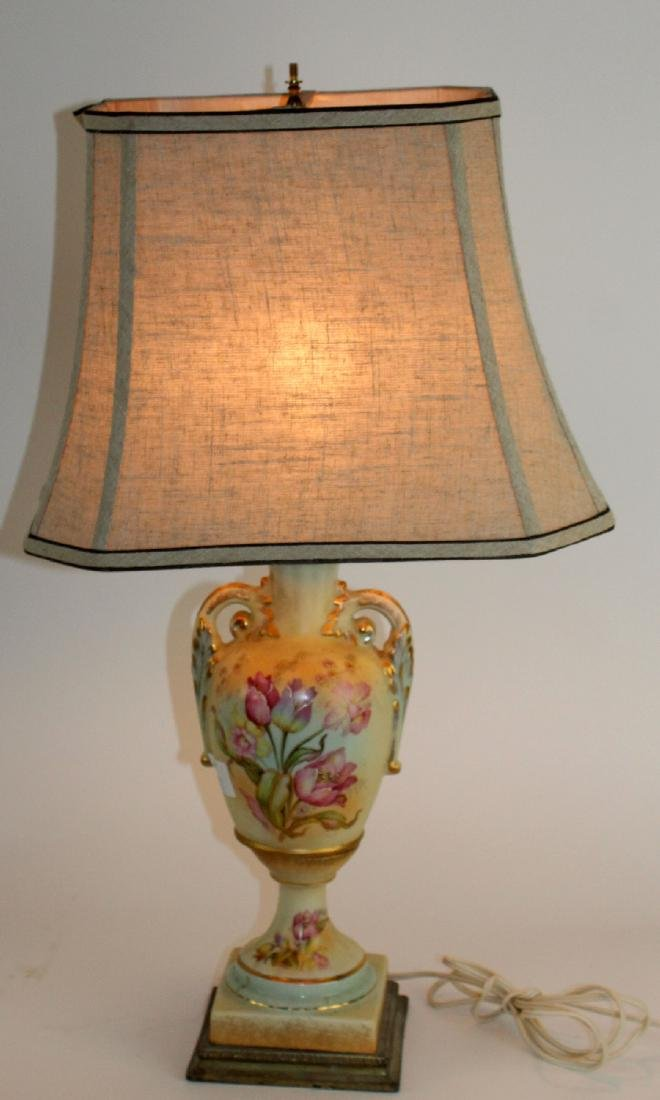 Floral painted porcelain lamp