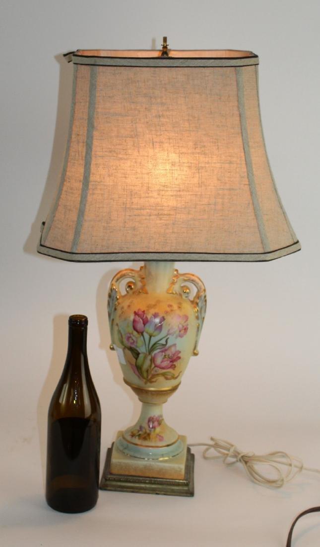 Floral painted porcelain lamp - 2