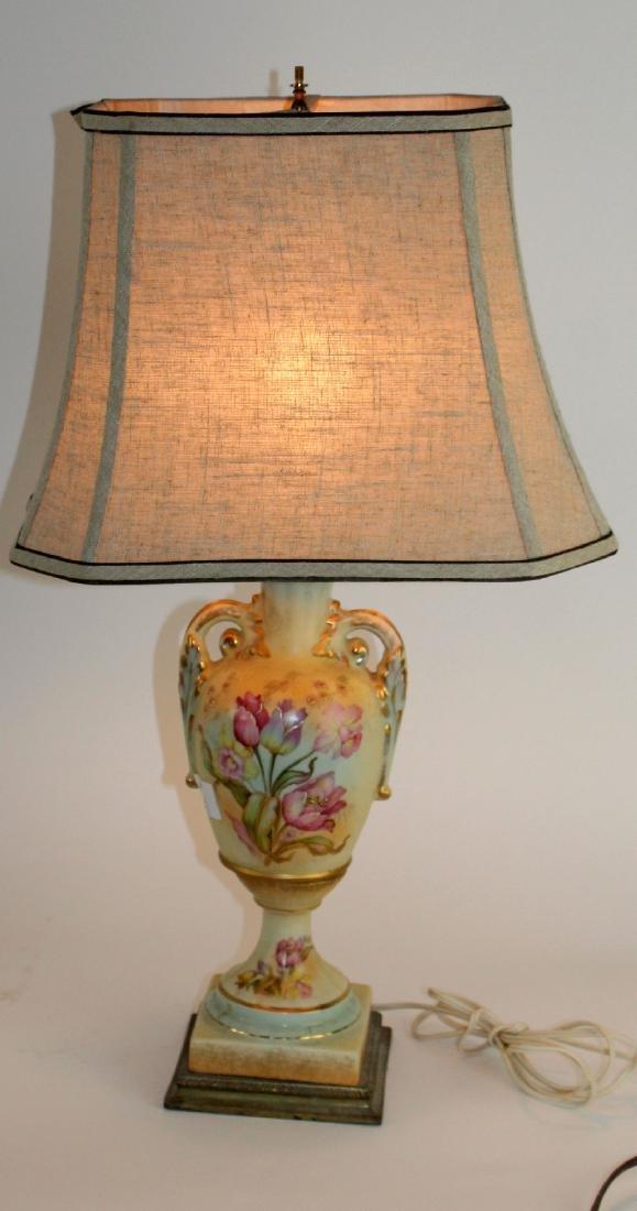 Floral painted porcelain lamp - 3
