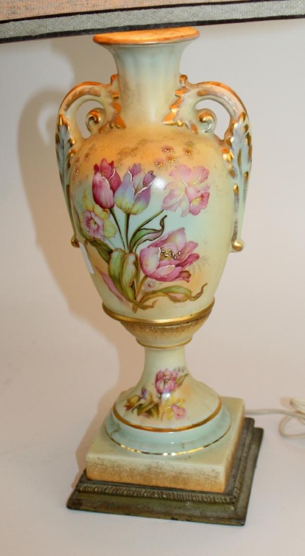 Floral painted porcelain lamp - 4