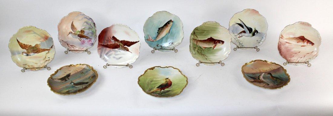 Set of 10 Limoges porcelain hand painted plates