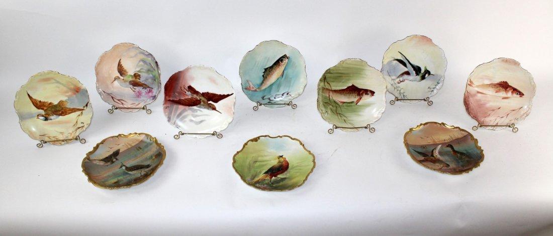 Set of 10 Limoges porcelain hand painted plates - 2
