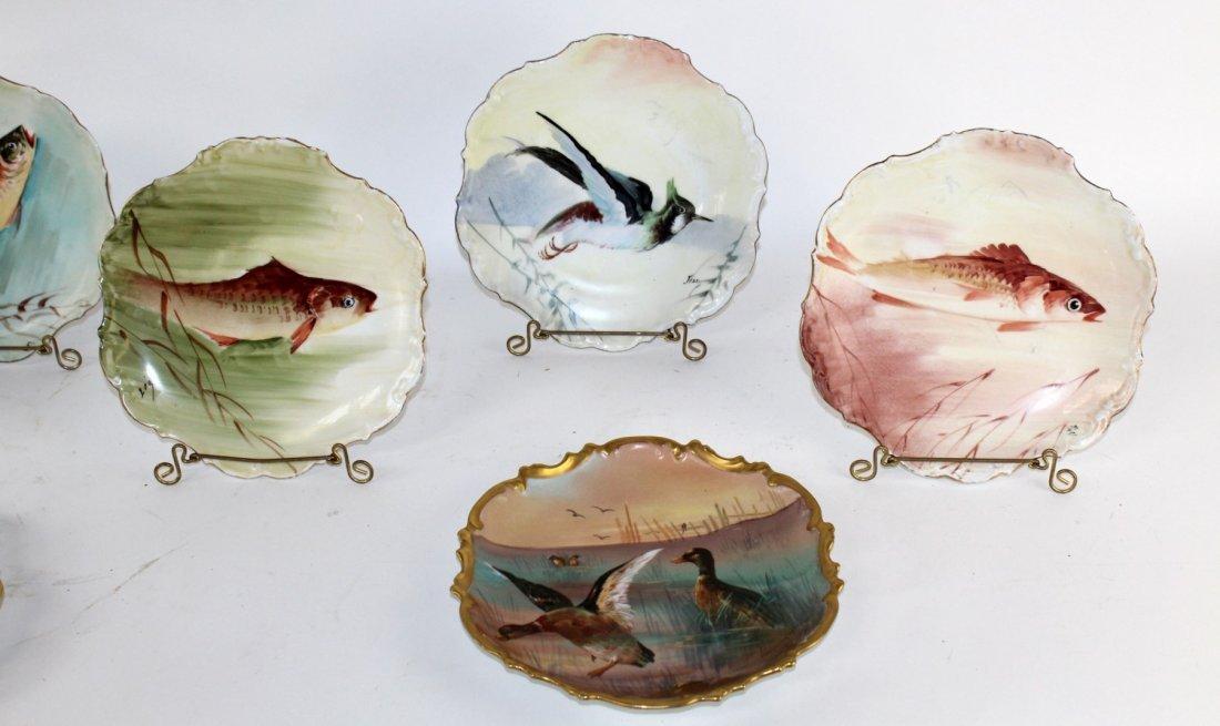 Set of 10 Limoges porcelain hand painted plates - 3
