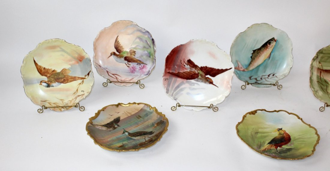 Set of 10 Limoges porcelain hand painted plates - 4