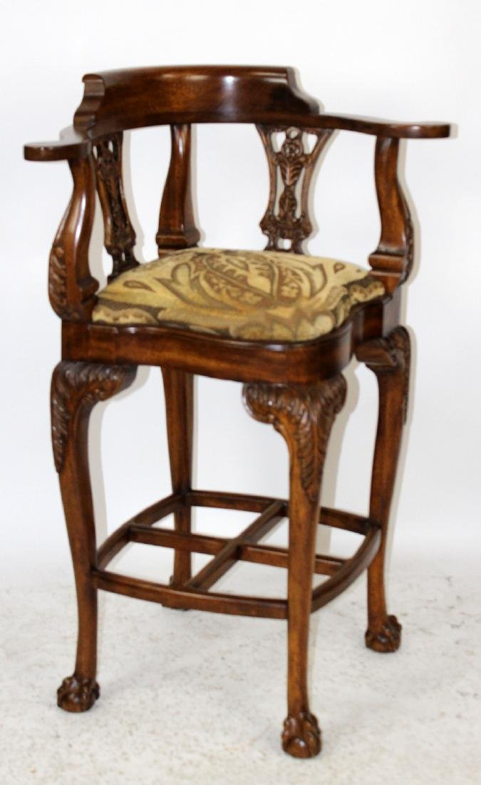 Chippendale style carved mahogany barstool