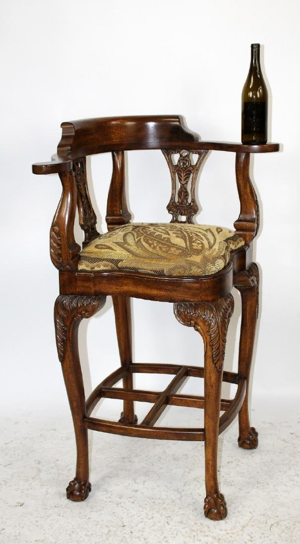 Chippendale style carved mahogany barstool - 2