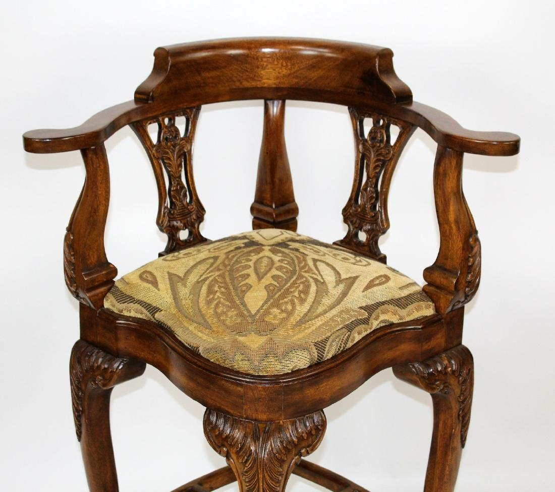 Chippendale style carved mahogany barstool - 3