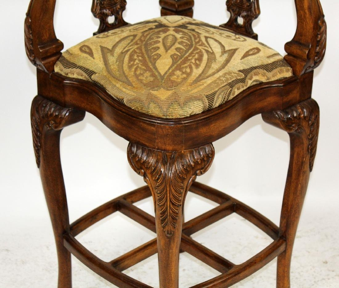 Chippendale style carved mahogany barstool - 4