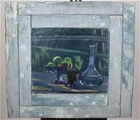 Oil on canvas still life in blues signed P Borgamano