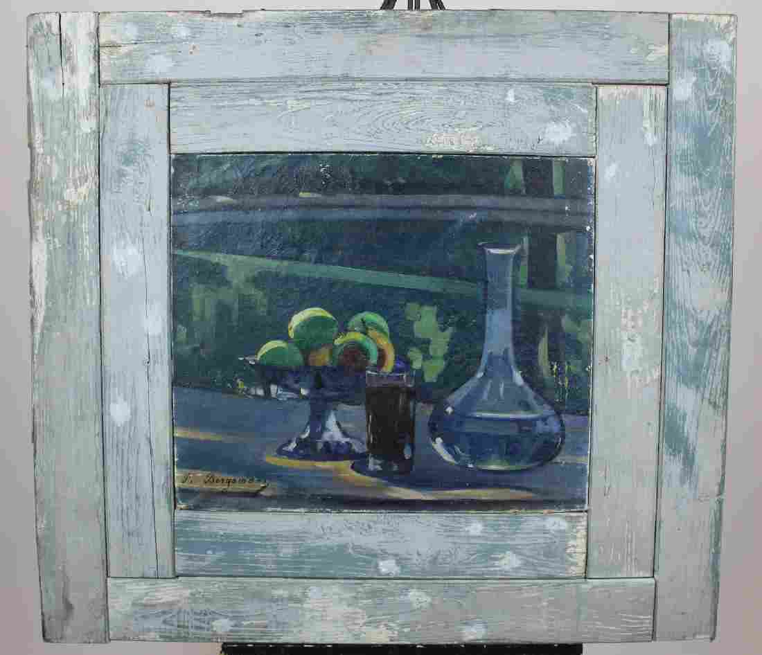 Oil on canvas still life in blues signed P. Borgamano