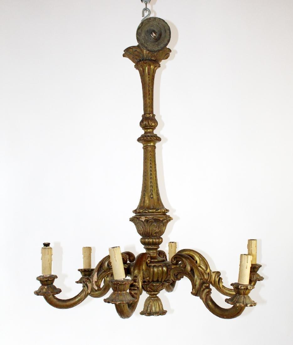 Italian giltwood 6 arm chandelier