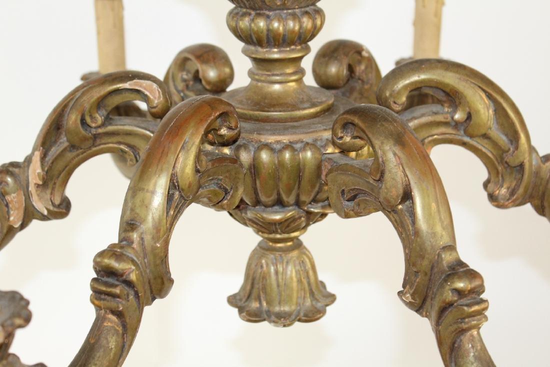 Italian giltwood 6 arm chandelier - 2
