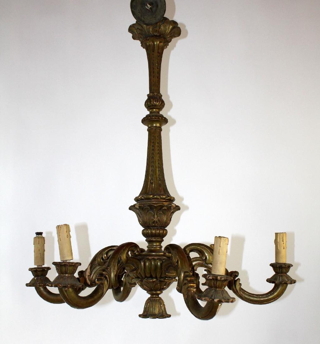 Italian giltwood 6 arm chandelier - 4