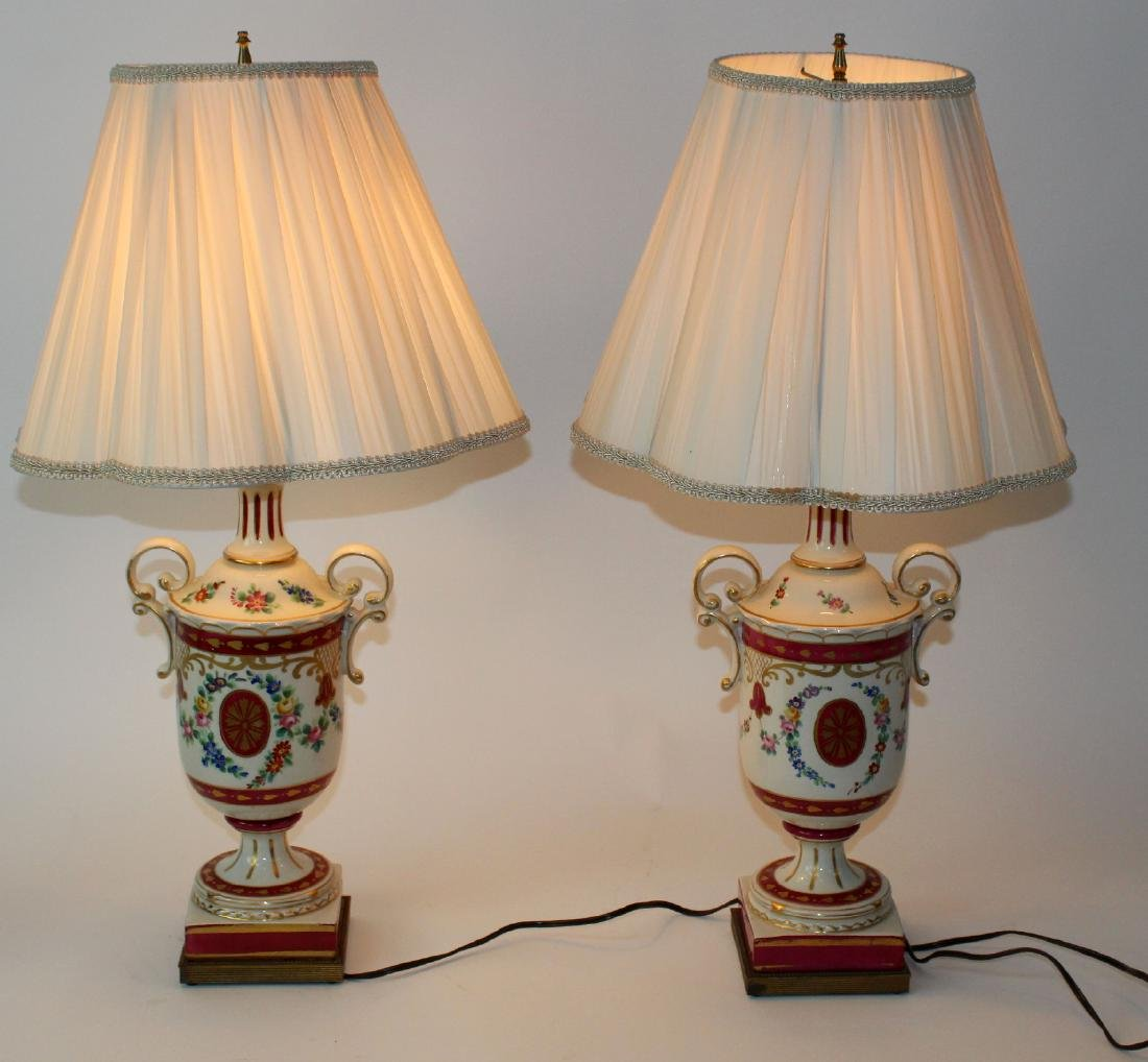 Pair of painted porcelain urn form lamps