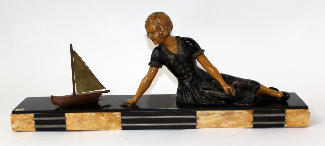 French Art Deco statue of young girl