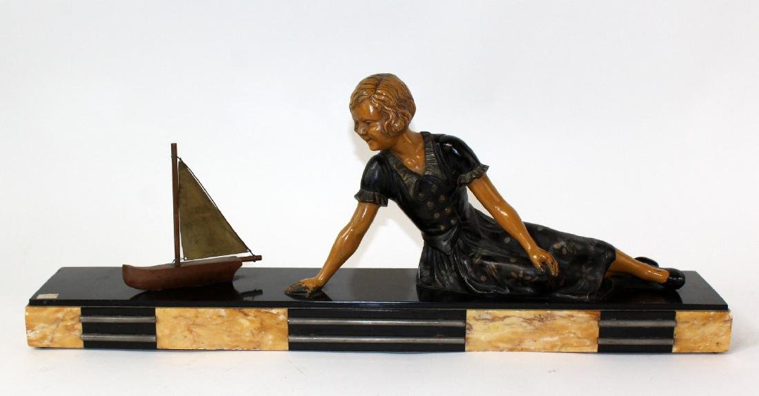 French Art Deco statue of young girl - 3