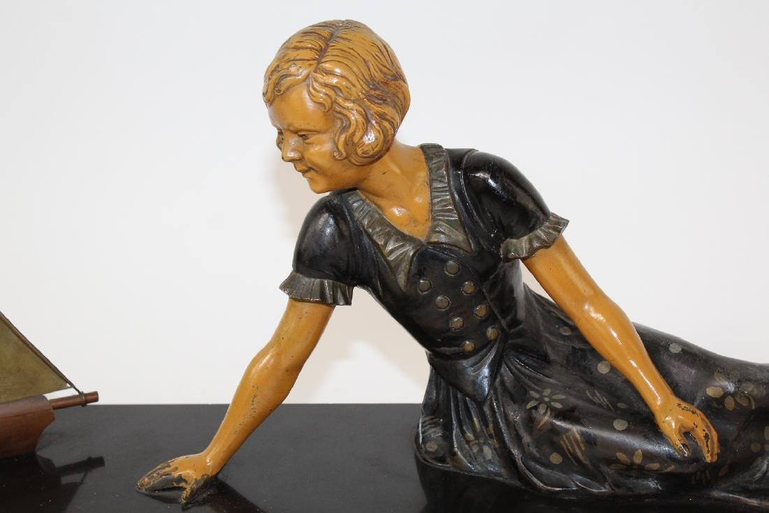 French Art Deco statue of young girl - 4