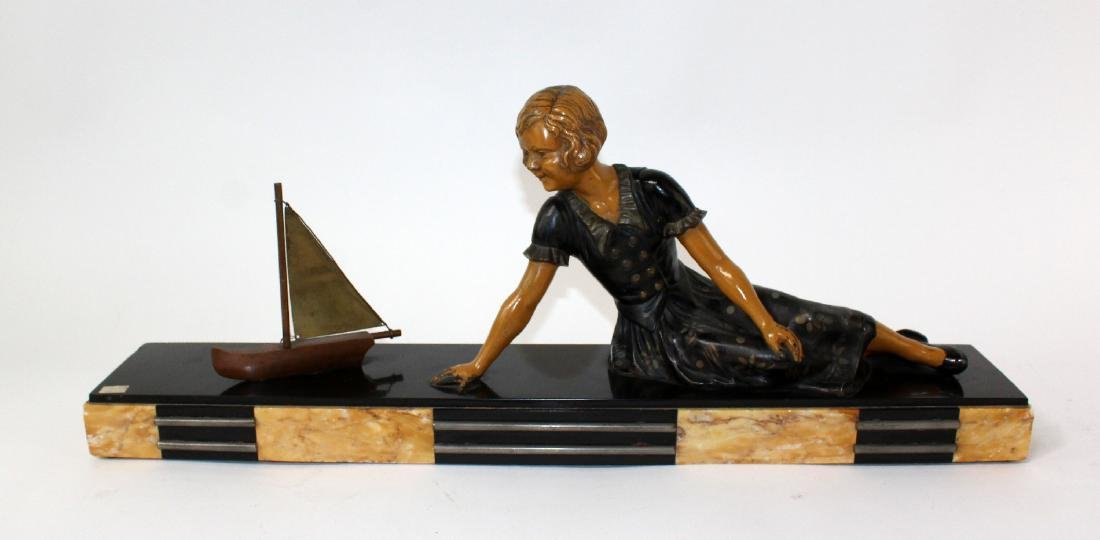 French Art Deco statue of young girl - 6