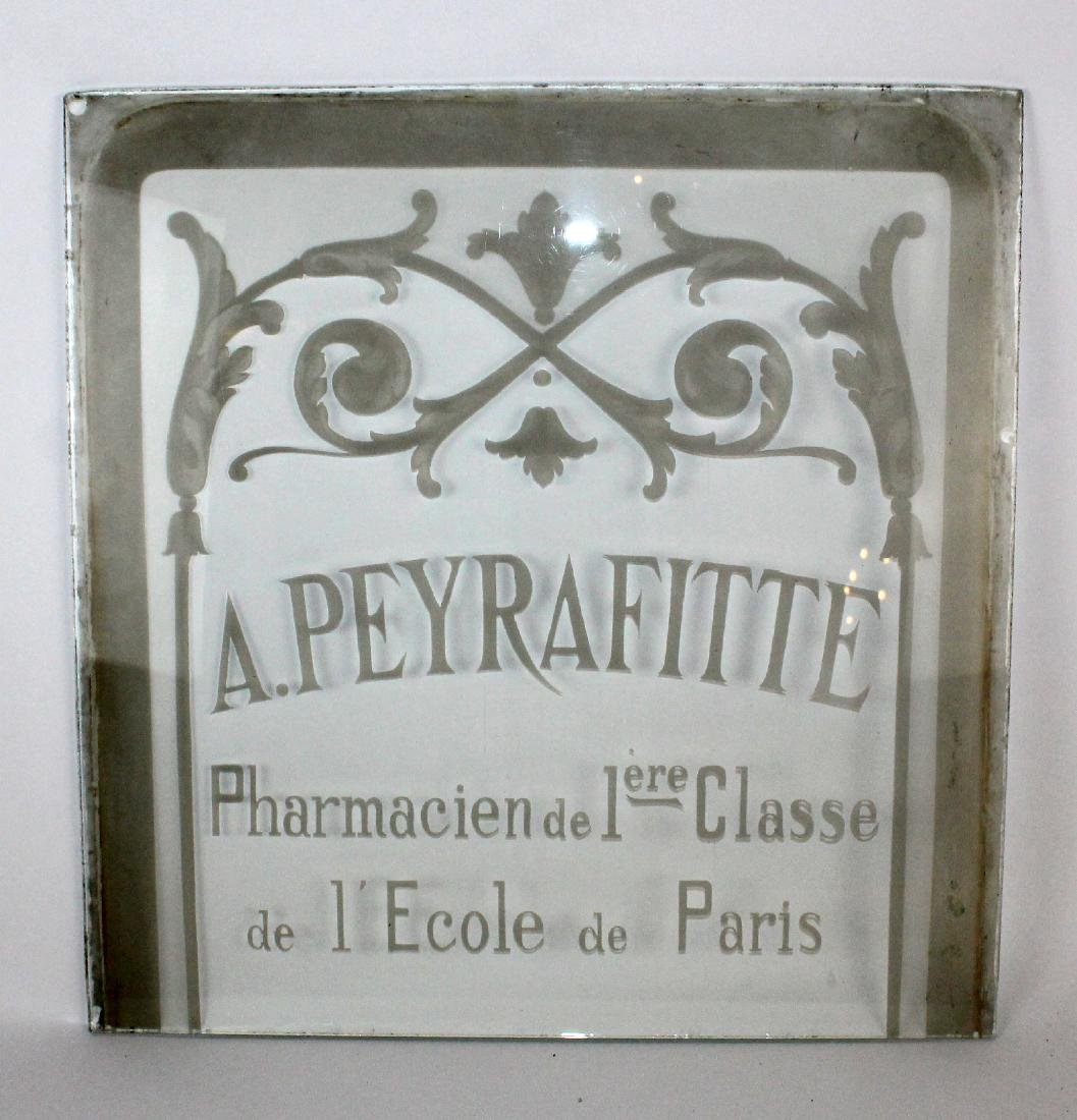 French etched glass pharmacy panel