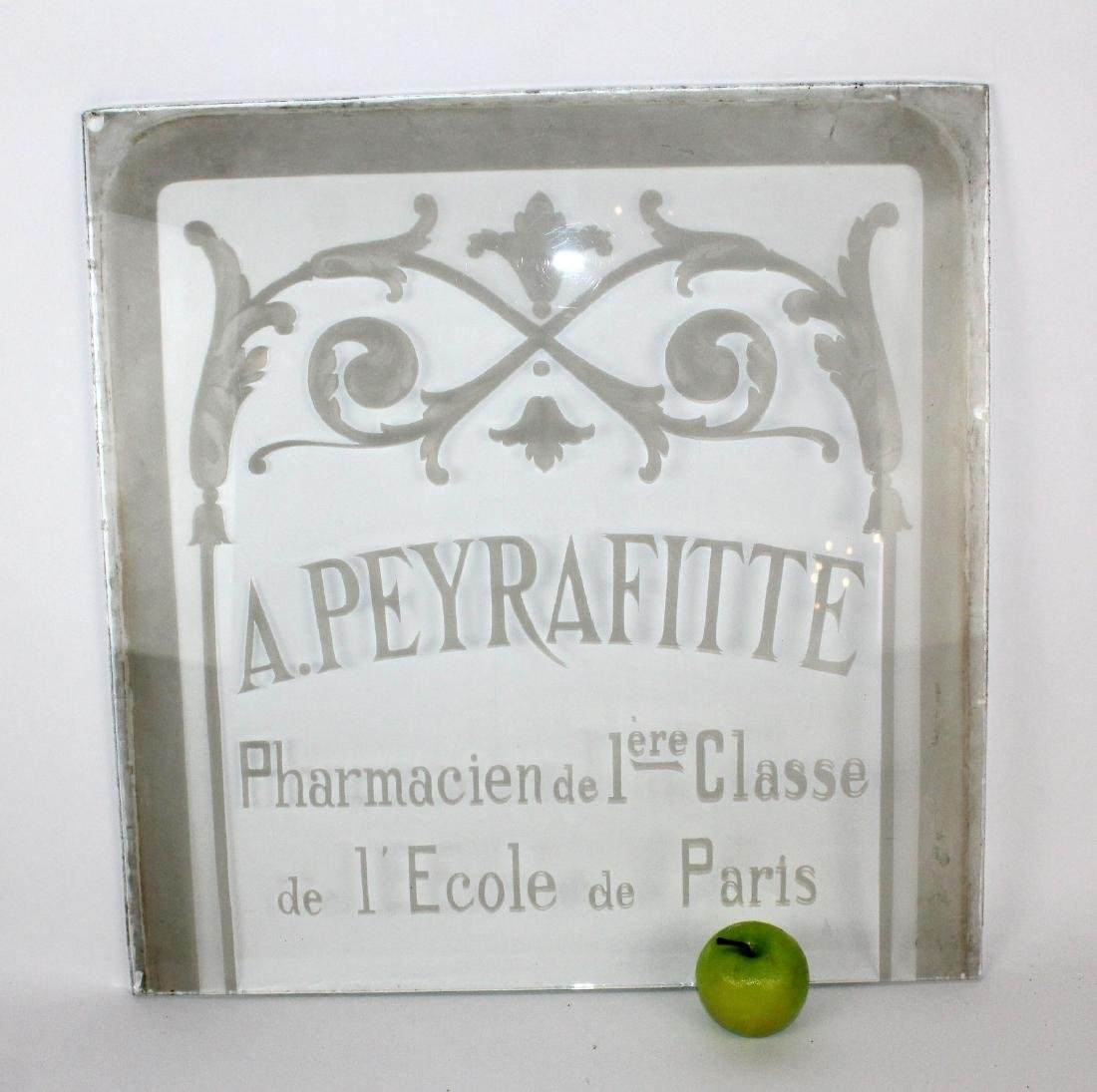 French etched glass pharmacy panel - 2