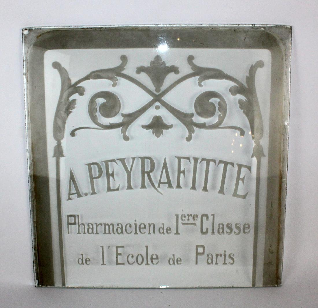 French etched glass pharmacy panel - 3