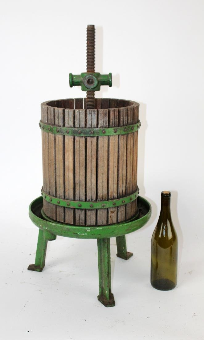 Vintage painted cast iron wine press - 2