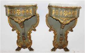 Pair of Italian polychrome marble top consoles